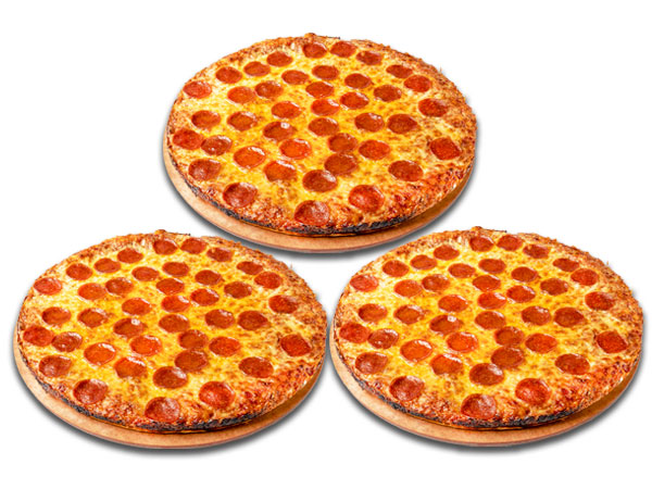 TRIPLE SMALL 1-TOP PIZZAS $6.99 EA thumbnail